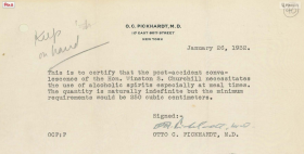 Winston Churchill Doctor's letter requiring alcohol for recovery