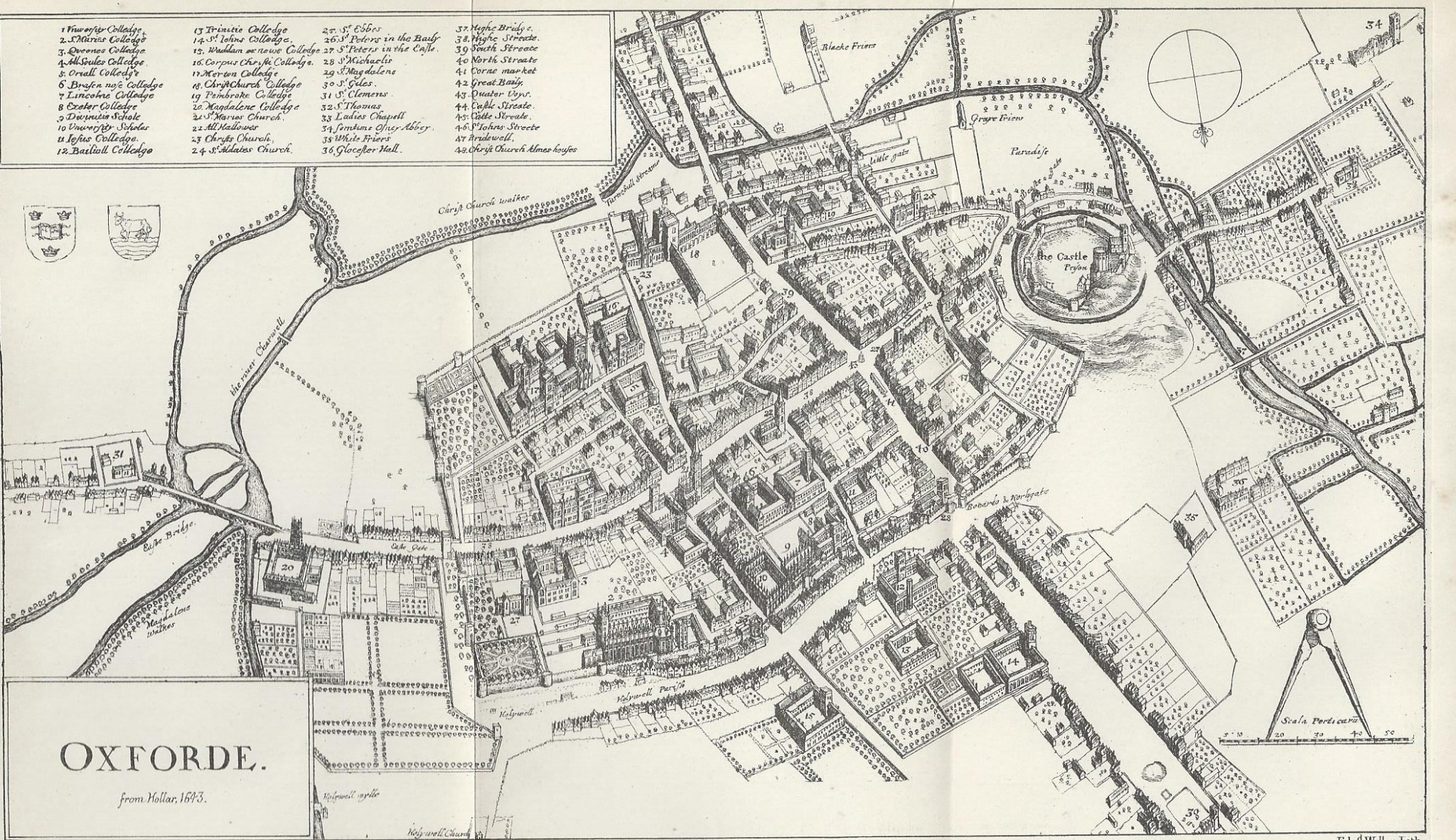 Old map of Oxford University and town dated 1643 17th Century